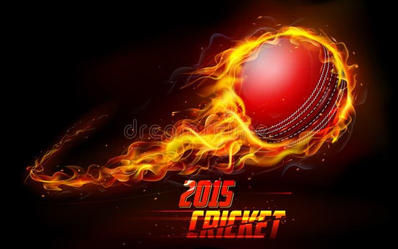 Fiery cricket ball royalty free illustration