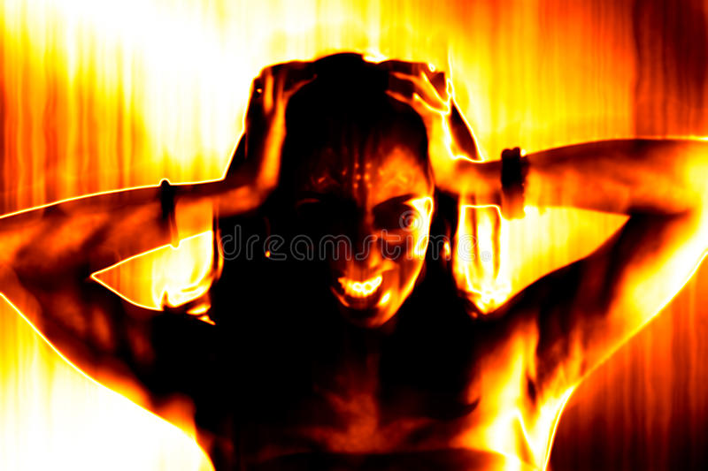 Fiery Evil Woman. Abstract illustration of a fiery and hellish looking evil woman vector illustration