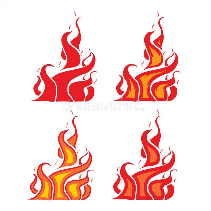 Fiery flame, burning fire, ring fire strips. Flat style, vector illustration stock illustration