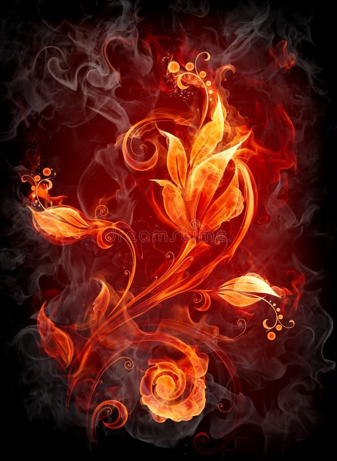 Fiery flower. Fiery background. Series of fiery illustrations royalty free illustration