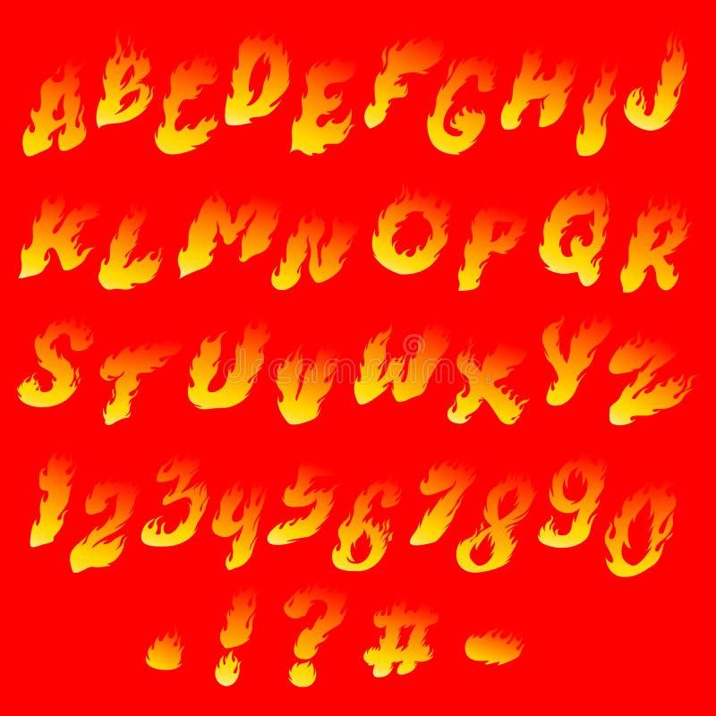 Fiery font vector illustration