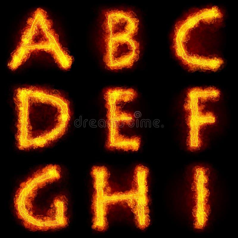 Fiery Font Set vector illustration