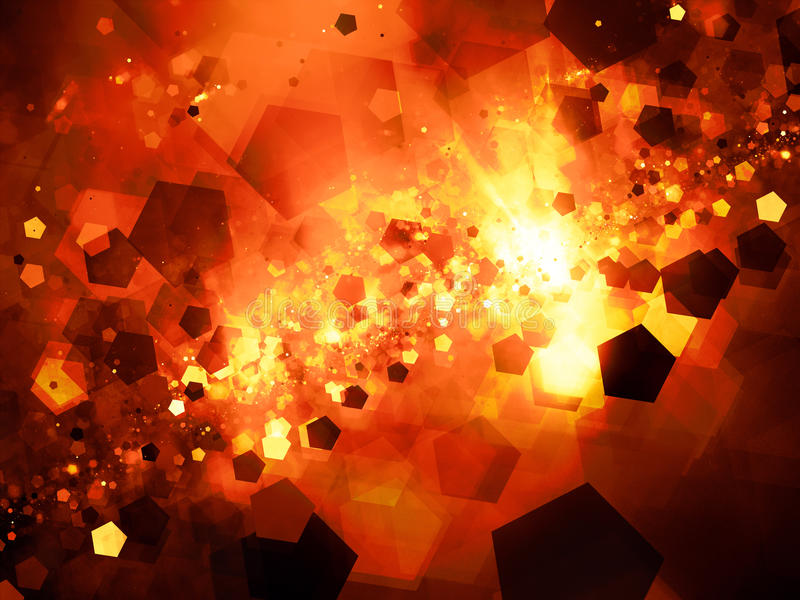 Fiery glowing nebula in space with pentagon particles stock illustration