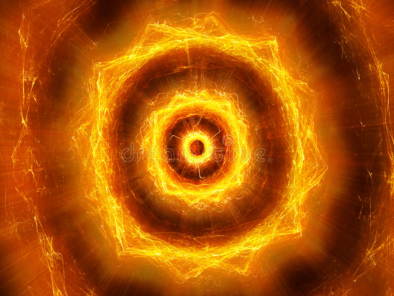 Fiery glowing pulsing electromagnetic explosion in space. Computer generated abstract background, 3D rendering royalty free illustration