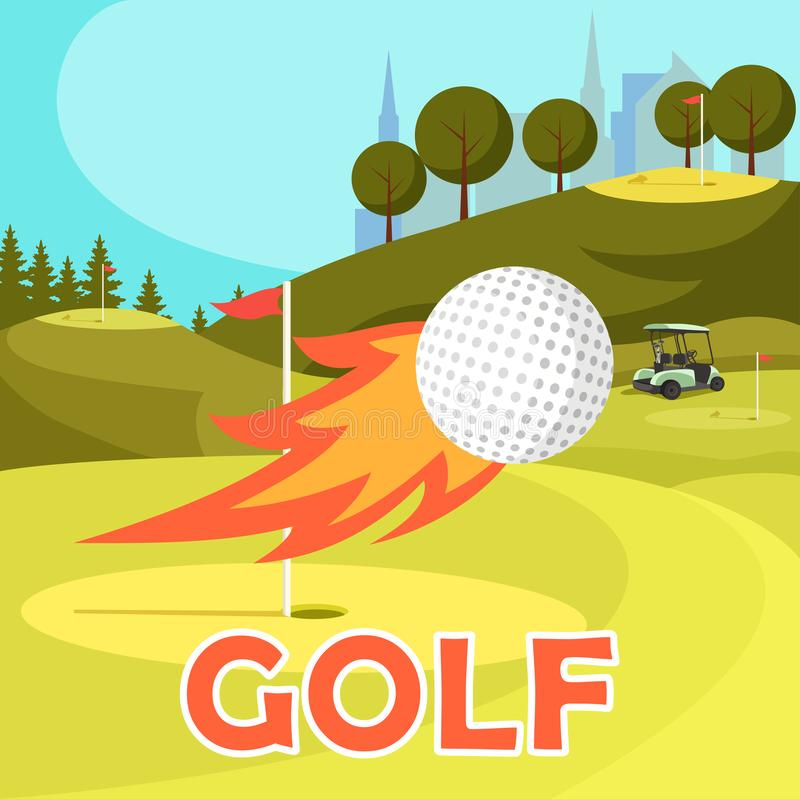 Fiery Golf Ball Fly Near Hole Marked with Red Flag stock illustration