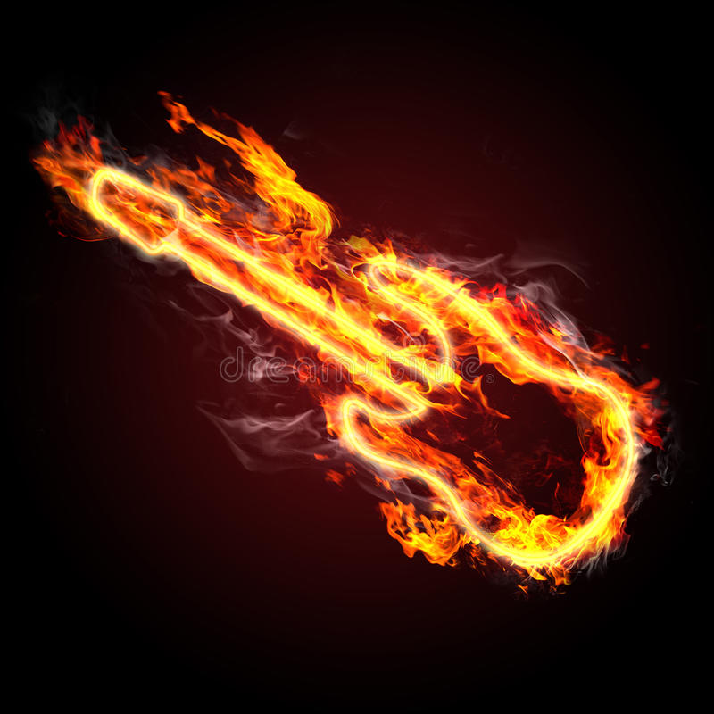 Fiery guitar royalty free illustration