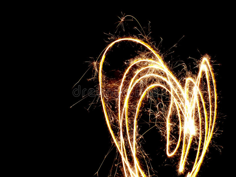 Fiery Heart Made with Sparklers royalty free stock photo