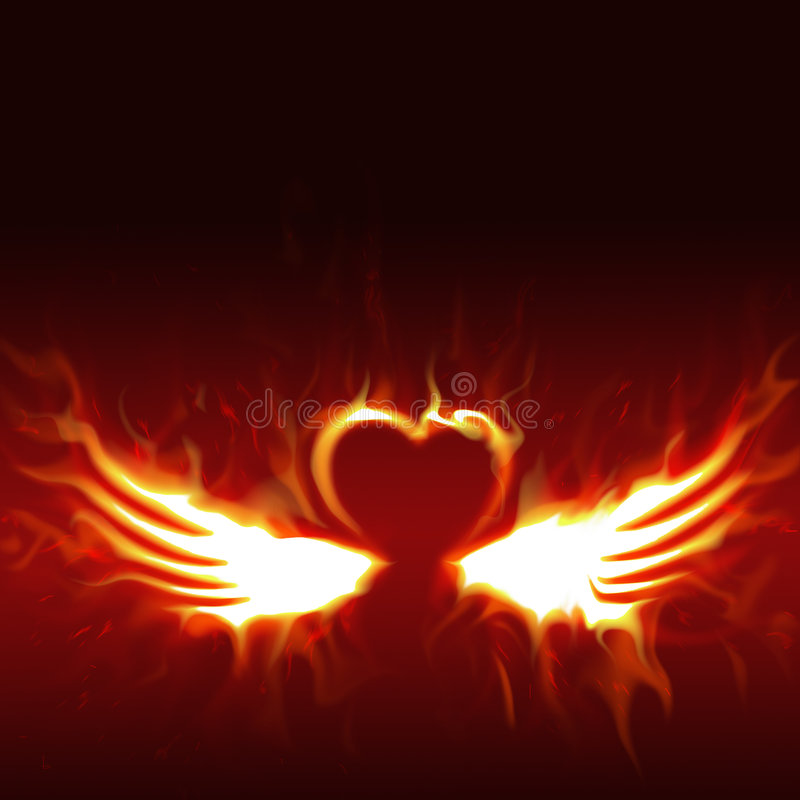 Fiery heart with wings. Abstract of a fiery heart with fiery wings extended from the bottom of the heart. On a dark background vector illustration