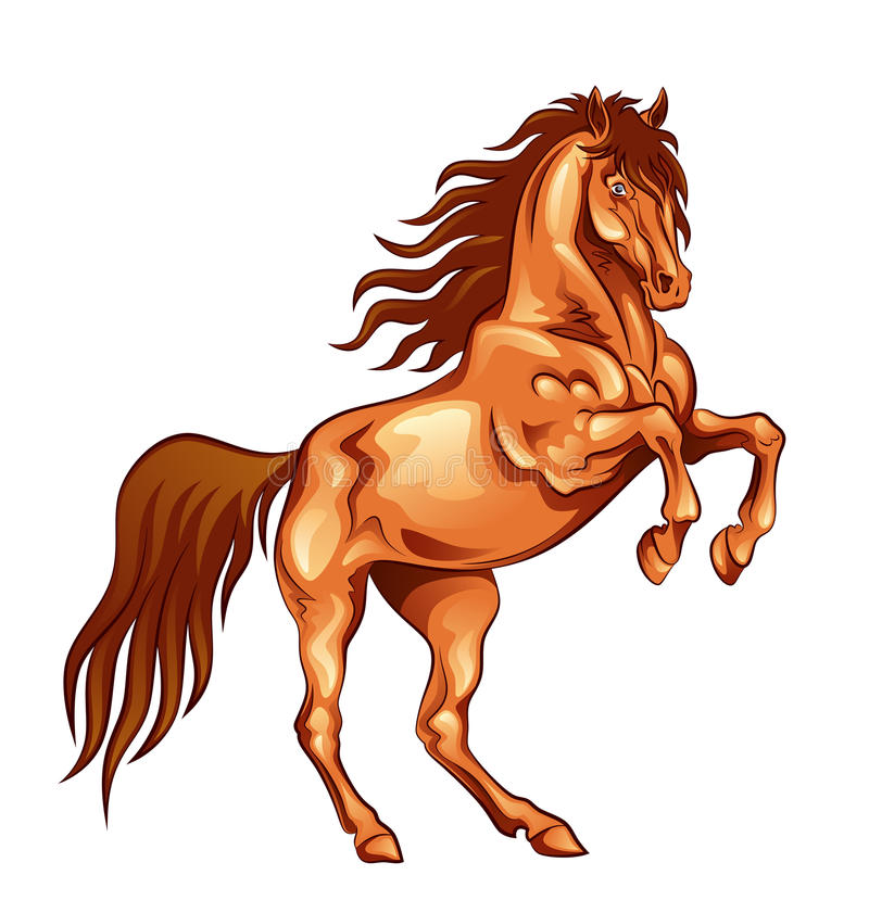 Fiery horse. On a white background royalty free illustration