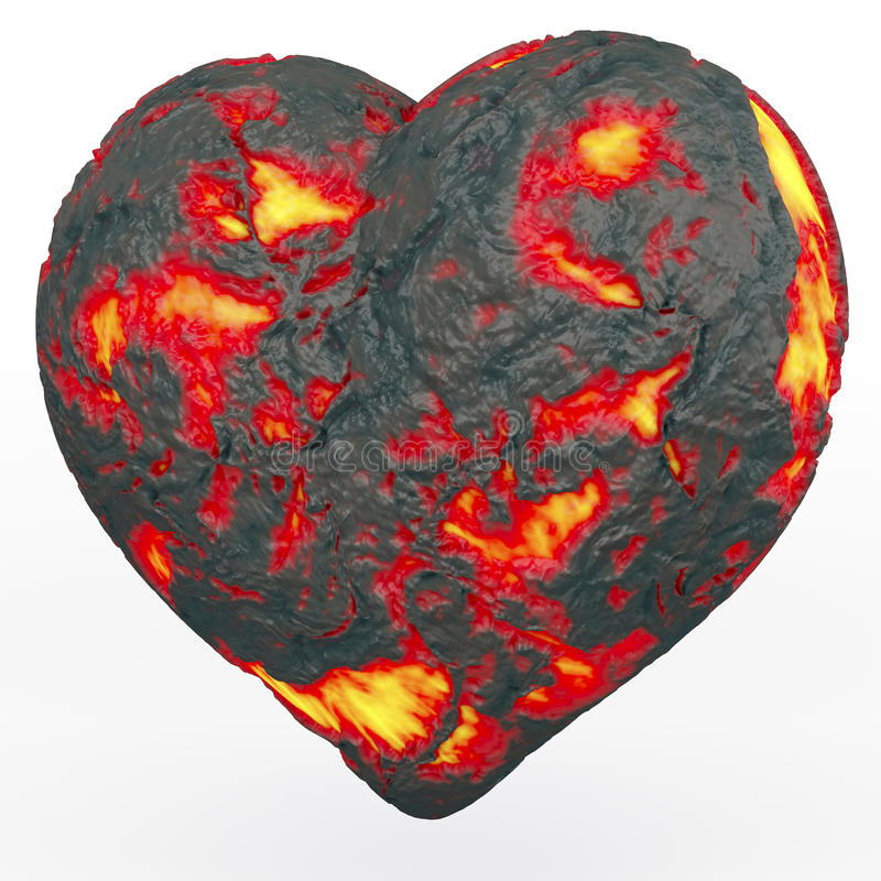 Fiery lava heart. Lava heart, heart made of fiery, glowing lava, 3d rendering on white background vector illustration