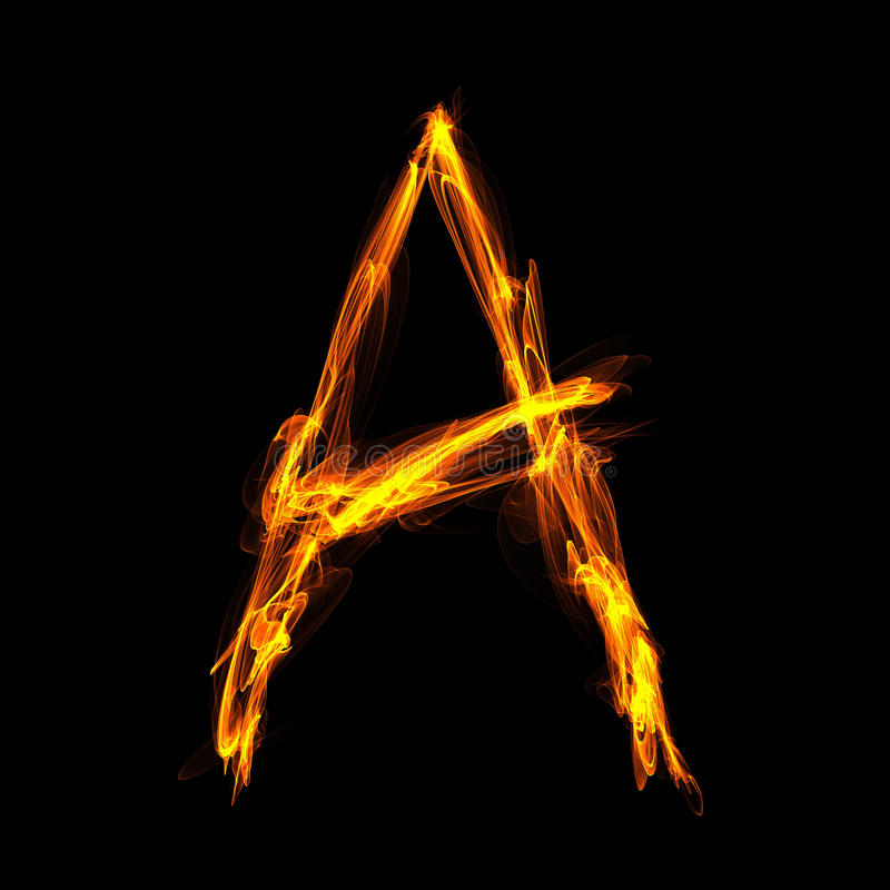 Fiery Letter A Stock Images