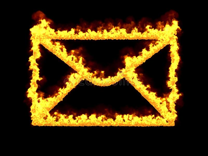 Fiery mail icon. 3d render. Digital illustration vector illustration