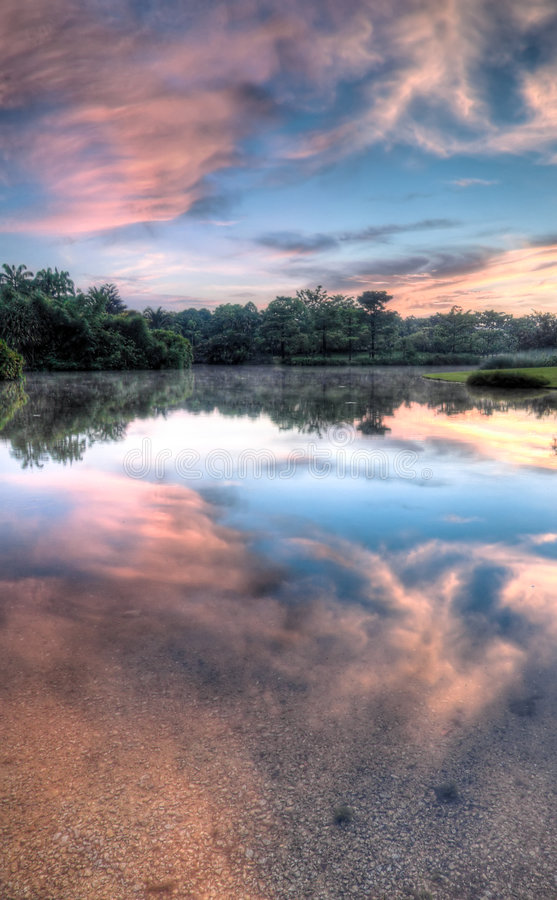 Download Fiery Morning Reflected stock image. Image of dawn, bottom - 5420387