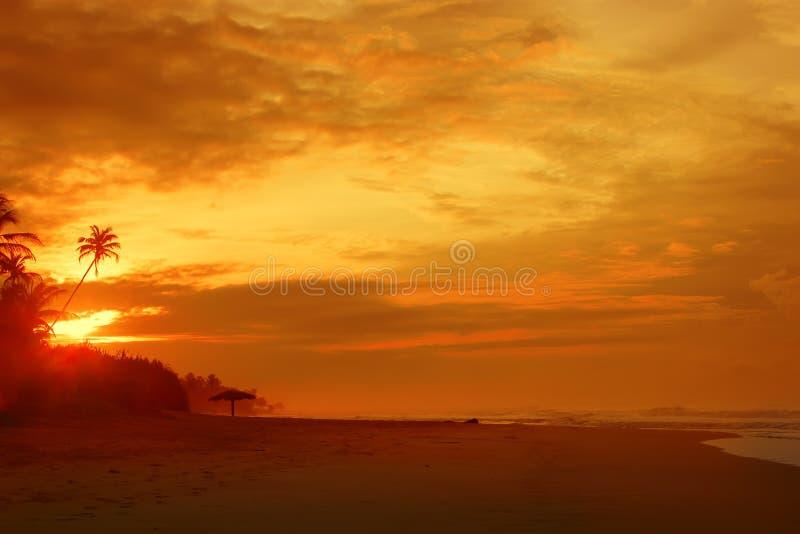 Fiery orange sunrise sky. Beautiful morning sky. stock photo