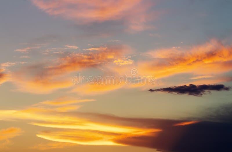 Fiery orange sunset sky. royalty free stock photos