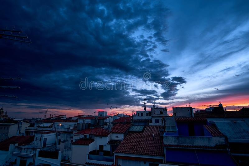 Fiery orange sunset sky. Beautiful sky above the city. Fiery orange sunset sky. Beautiful sky above the city stock photo