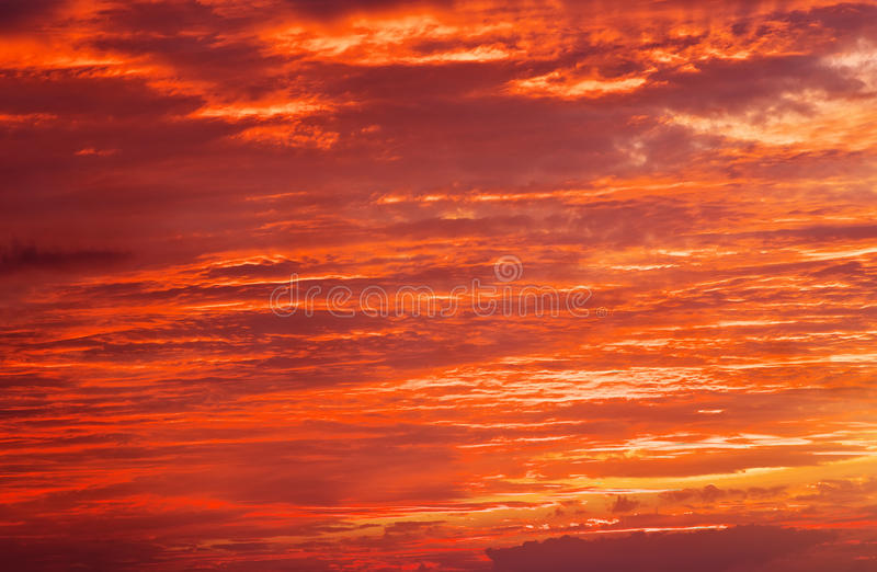 Fiery orange sunset sky. Bright orange, red and yellow colors sunset sky. Light after the sunset royalty free stock images