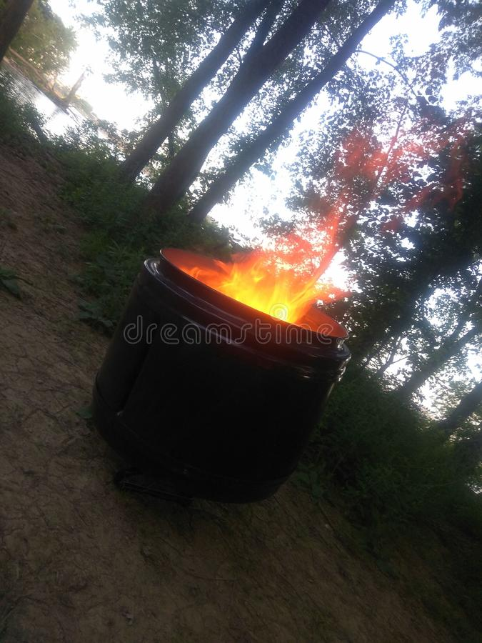 Fiery Pit. Upcycled repurposed barrels for fire pits royalty free stock image
