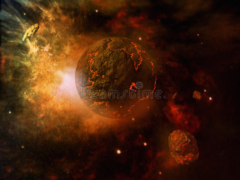 Download Fiery planet and asteroid stock illustration. Image of planet - 41888549