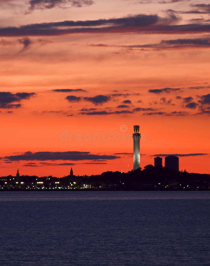 Download A Fiery Red Sunset Frames A Cape Cod Scene Stock Photo - Image: 26434460