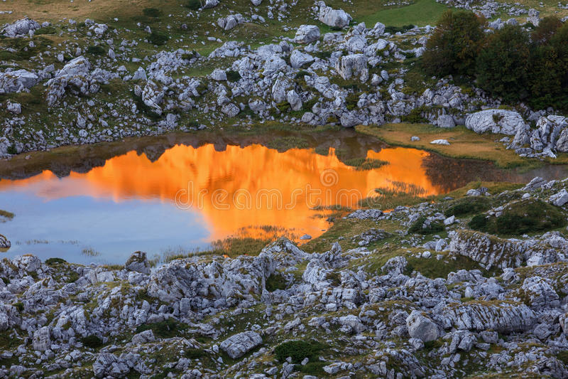 Download Fiery Reflection On The Lake In Early Morning Stock Photo - Image of reflection, landscape: 34269232