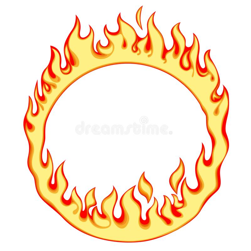Fiery ring. Isolated on white. Fire round frame. Vector illustration vector illustration