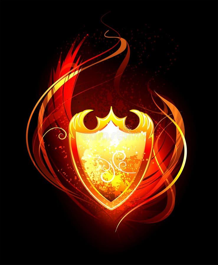 Fiery Shield. Vector fiery shield on black background stock illustration