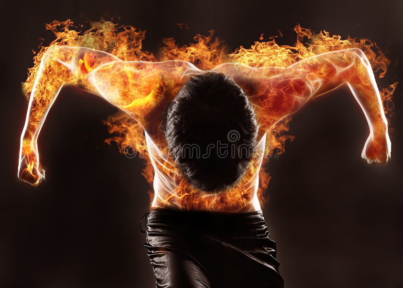 Fiery silhouette. Of athletic man royalty free illustration