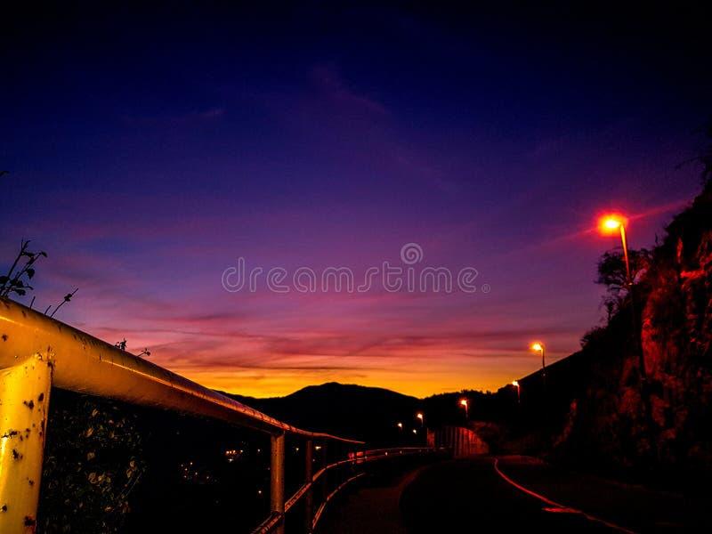 Fiery sky after a sunset stock photos