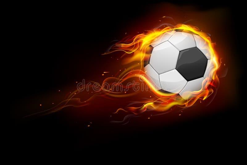 Fiery Soccer Ball stock illustration