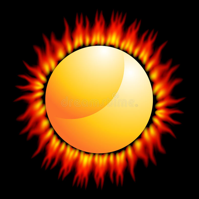 Fiery Sun. An image of a fiery flame sun on a black background vector illustration