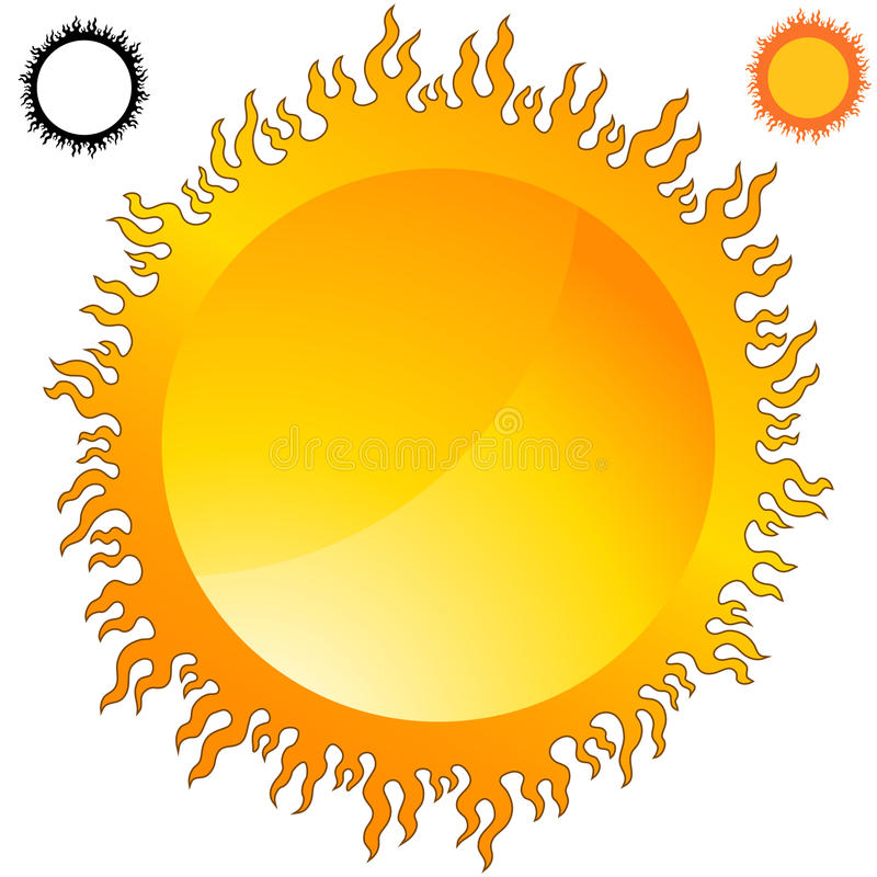 Download Fiery Sun Icon Set stock vector. Image of graphic, flame - 19301451
