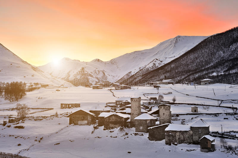 Fiery sunrise in Ushguli stock images