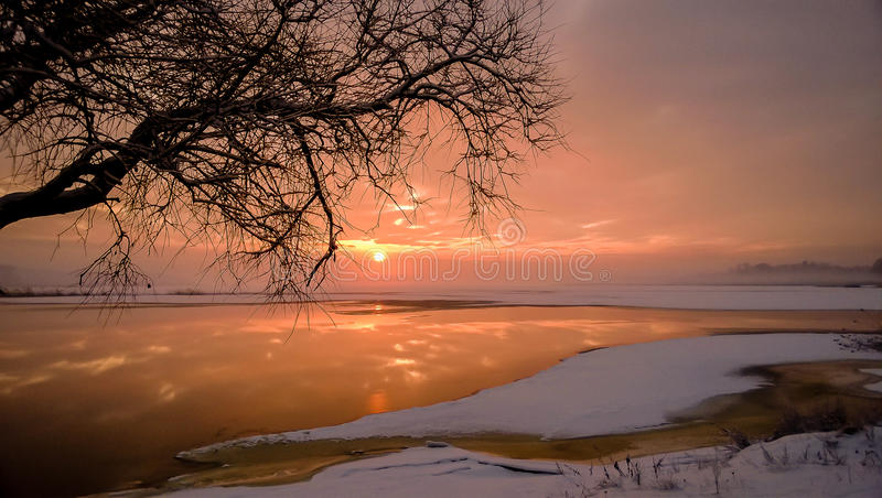 Fiery sunset stock photography