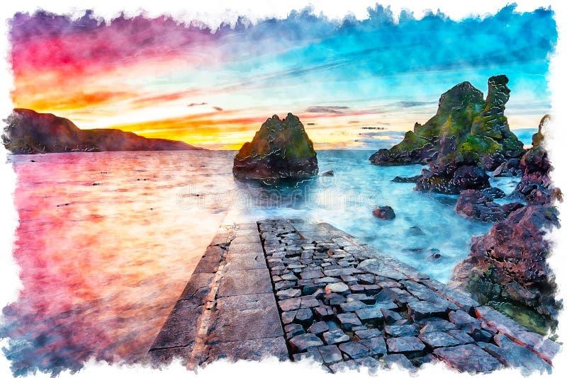 Fiery Sunset sobre a pintura de Pettico Wick Bay fotografia de stock