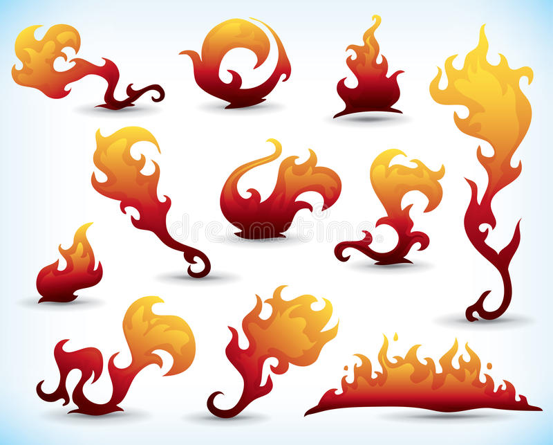Fiery tattoos. Collection of fiery design elements stock illustration