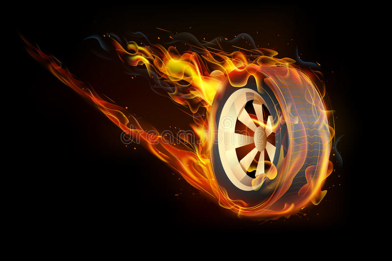 Fiery Tyre. Illustration of fire flame in tyre showing speed vector illustration