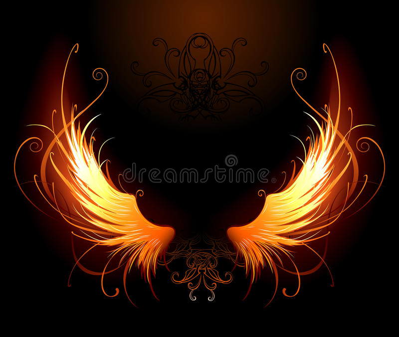 Fiery wings. Artistically painted fiery wings on a black background royalty free illustration