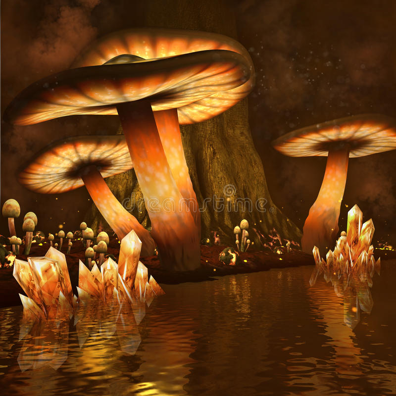 Fiery wood and lake. Fantasy scenery with fiery mushrooms and crystals by water royalty free illustration