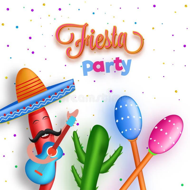 Fiesta Bawi się ulotki lub sztandaru projekt z postać z kreskówki ch ilustracji