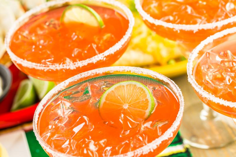 Fiesta buffet table. Fiesta party buffet table with watermelon margaritas and other traditional Mexican food royalty free stock photos