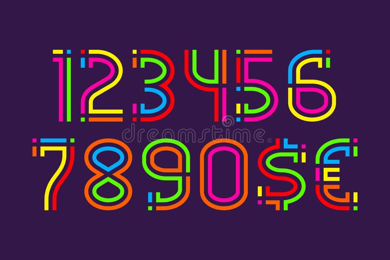 Fiesta carnival colorful numbers with currency signs of dollar and euro royalty free illustration
