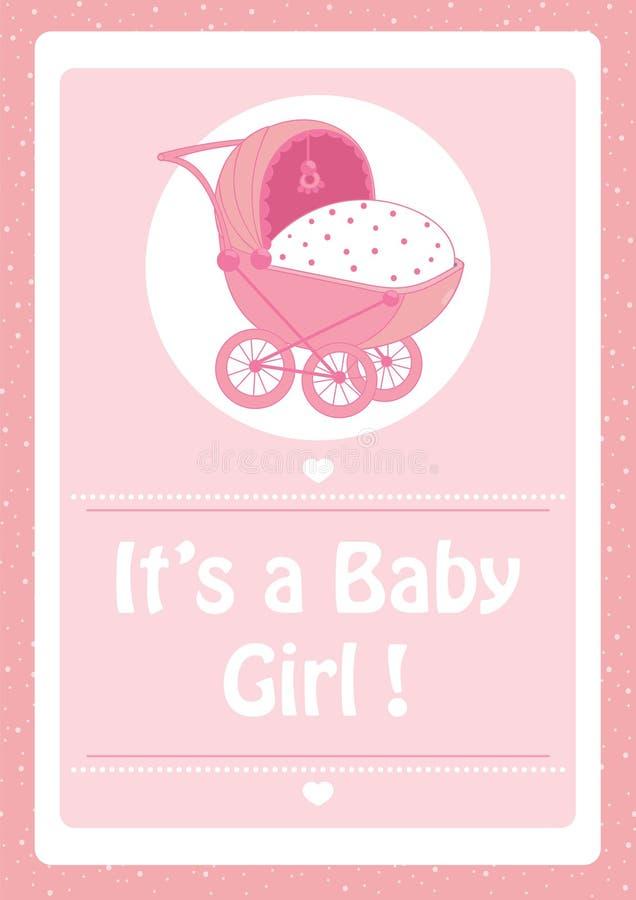 Fiesta de bienvenida al bebé, él ` s una tarjeta de la invitación del rosa del bebé, con el cochecito de bebé stock de ilustración