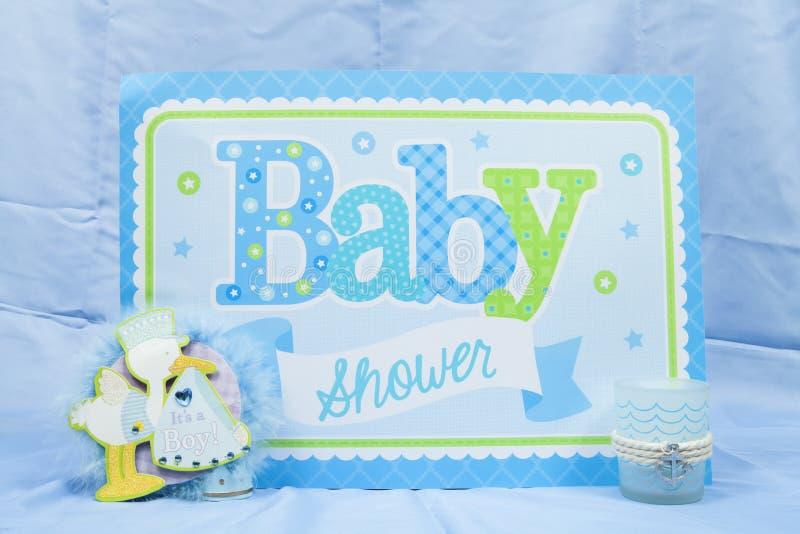 Fiesta de bienvenida al bebé azul imagen de archivo libre de regalías