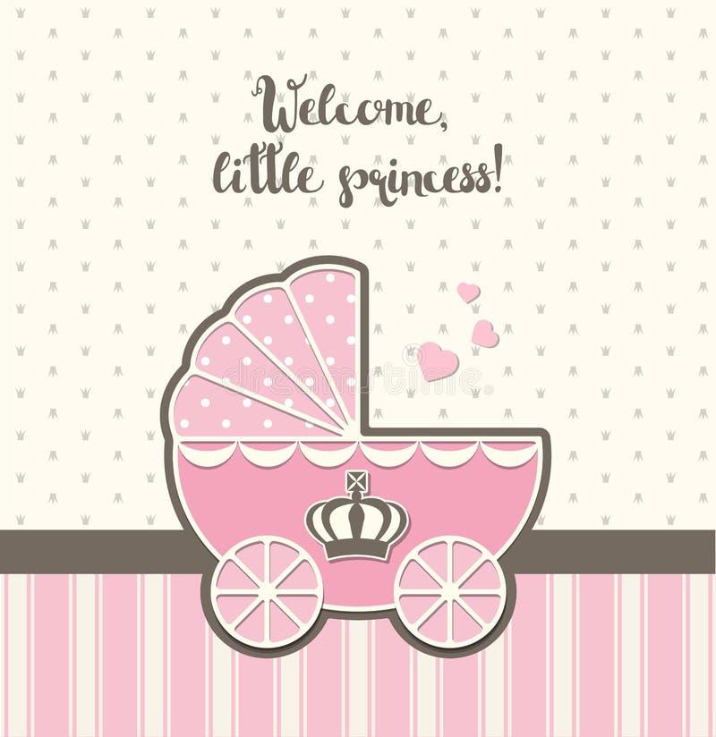 Fiesta de bienvenida al bebé, cochecito rosado del vintage con la corona real, ejemplo ilustración del vector