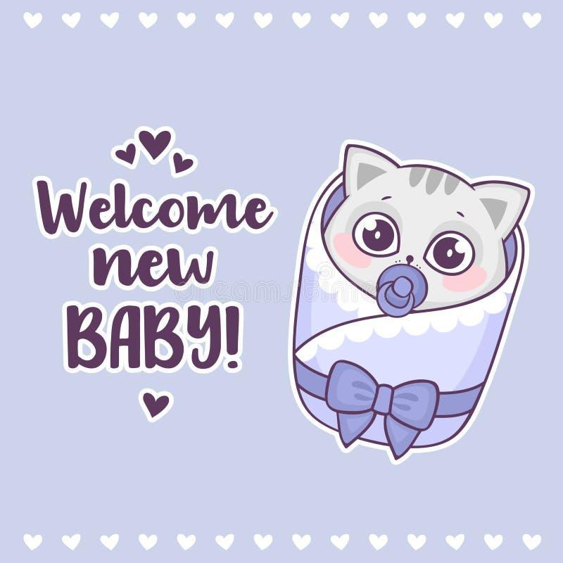 Fiesta de bienvenida al bebé colorida con bebé agradable lindo del gato y de la inscripción del muchacho el nuevo ilustración del vector