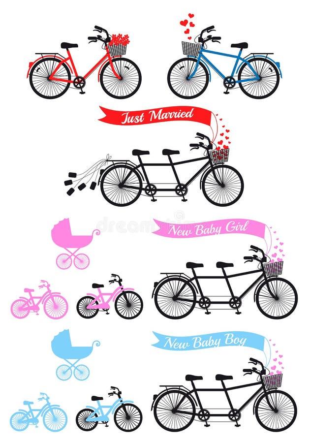 Fiesta de bienvenida al bebé con la bicicleta en tándem, sistema del vector libre illustration