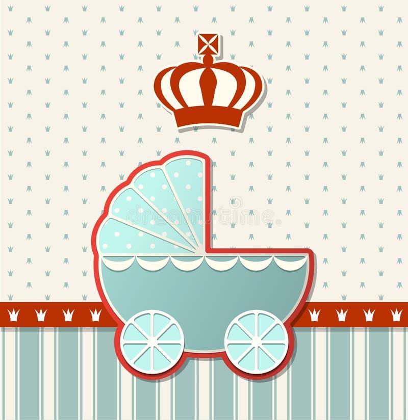 Fiesta de bienvenida al bebé con la corona real y el cochecito azul del vintage, ejemplo libre illustration