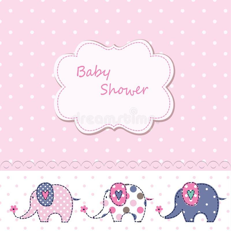 Fiesta de bienvenida al bebé con los elefantes lindos de la historieta libre illustration