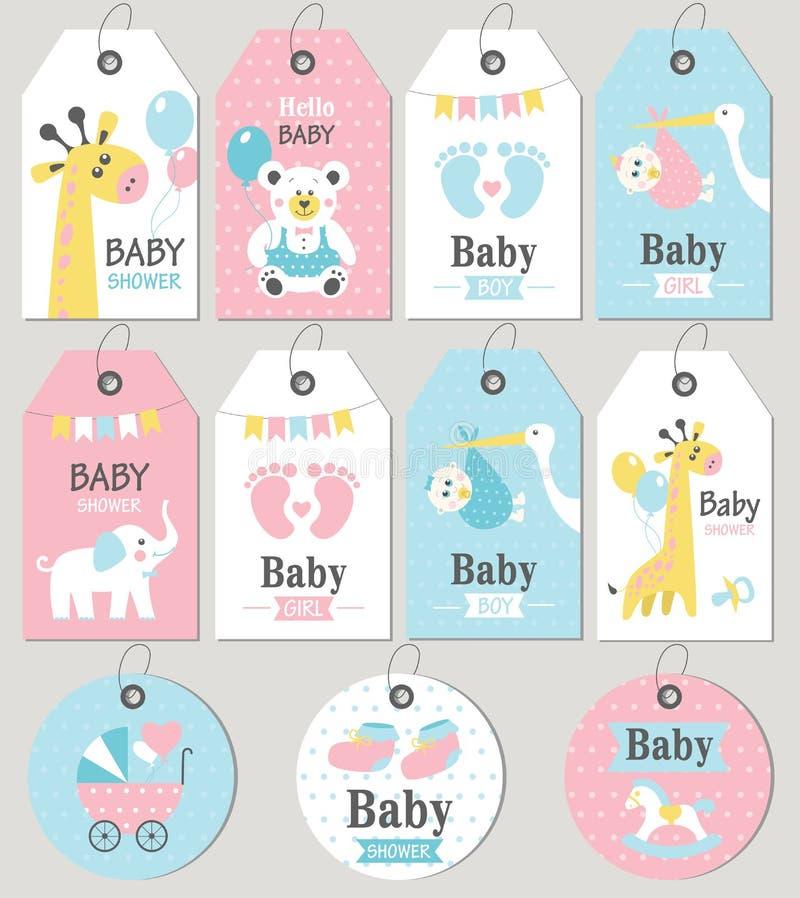 Fiesta de bienvenida al bebé de las etiquetas y de las tarjetas del regalo Sistema de la llegada del bebé libre illustration